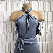 Одежда ручной работы. Ярмарка Мастеров - ручная работа П_005 Топик с завязками, цвет кофейный и джинс. Handmade.