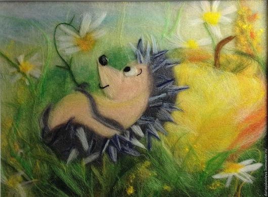 Животные ручной работы. Ярмарка Мастеров - ручная работа. Купить Картина из шерсти Раз ромашка, два ромашка... Handmade. Желтый