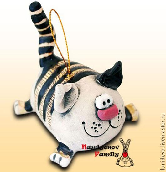 Колокольчики ручной работы. Ярмарка Мастеров - ручная работа. Купить Котик, керамический колокольчик. Котик из глины.. Handmade. Кот