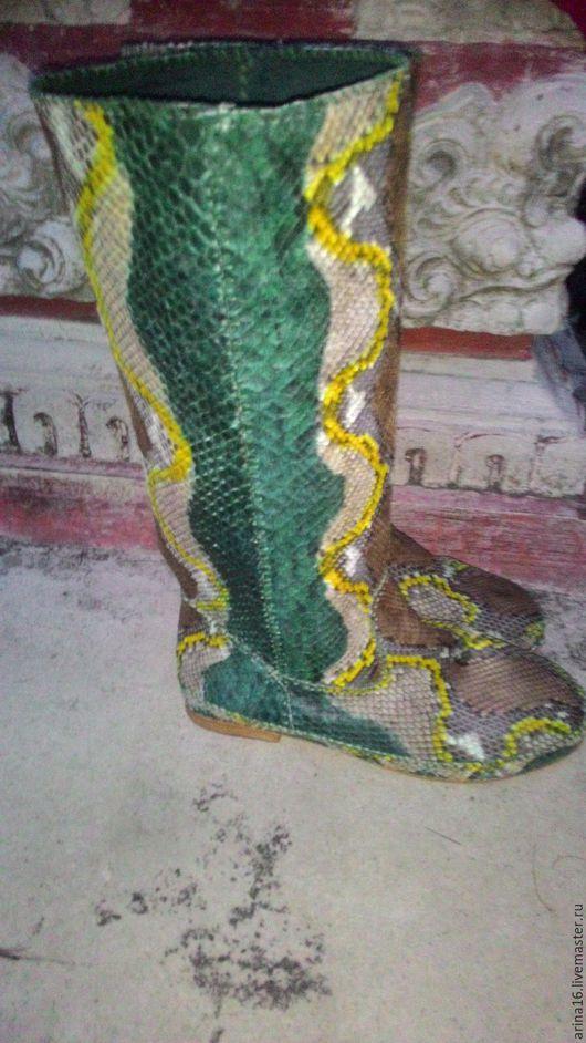 Обувь ручной работы. Ярмарка Мастеров - ручная работа. Купить сапоги из кожи питона. Handmade. Комбинированный, сапоги женские