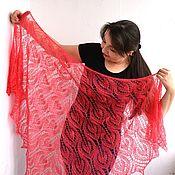 Аксессуары handmade. Livemaster - original item Shawl down knitted, coral cobweb openwork, triangular kerchief. Handmade.