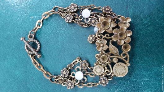 Браслеты ручной работы. Ярмарка Мастеров - ручная работа. Купить цветочный браслет в стиле бохо. Handmade. Комбинированный, бронзовая фурнитура