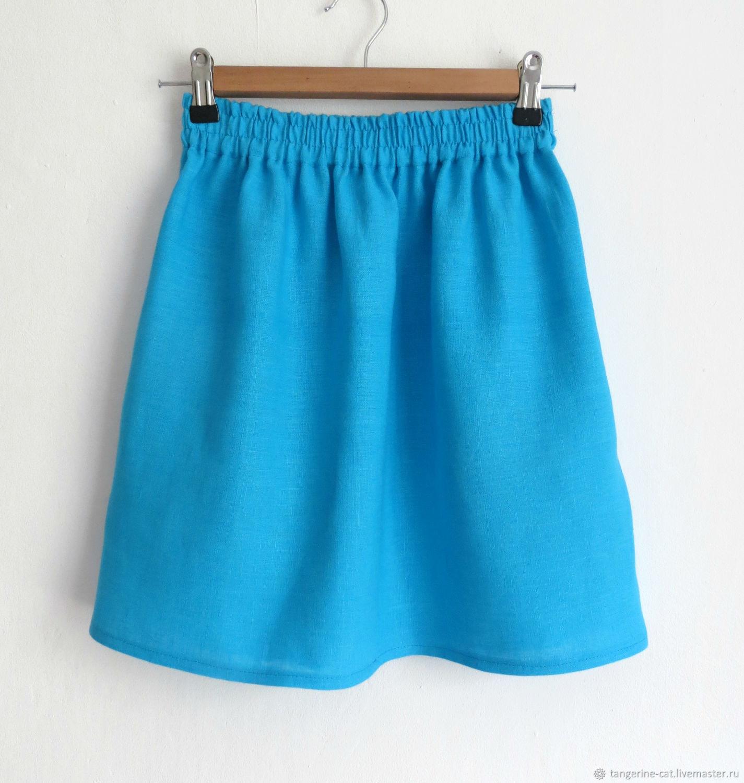 Юбки ручной работы. Ярмарка Мастеров - ручная работа. Купить Льняная юбка (42-44 размер). Handmade. Бирюзовый