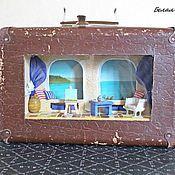 Кукольные домики ручной работы. Ярмарка Мастеров - ручная работа Чемодан-светильник Средиземноморье. Handmade.