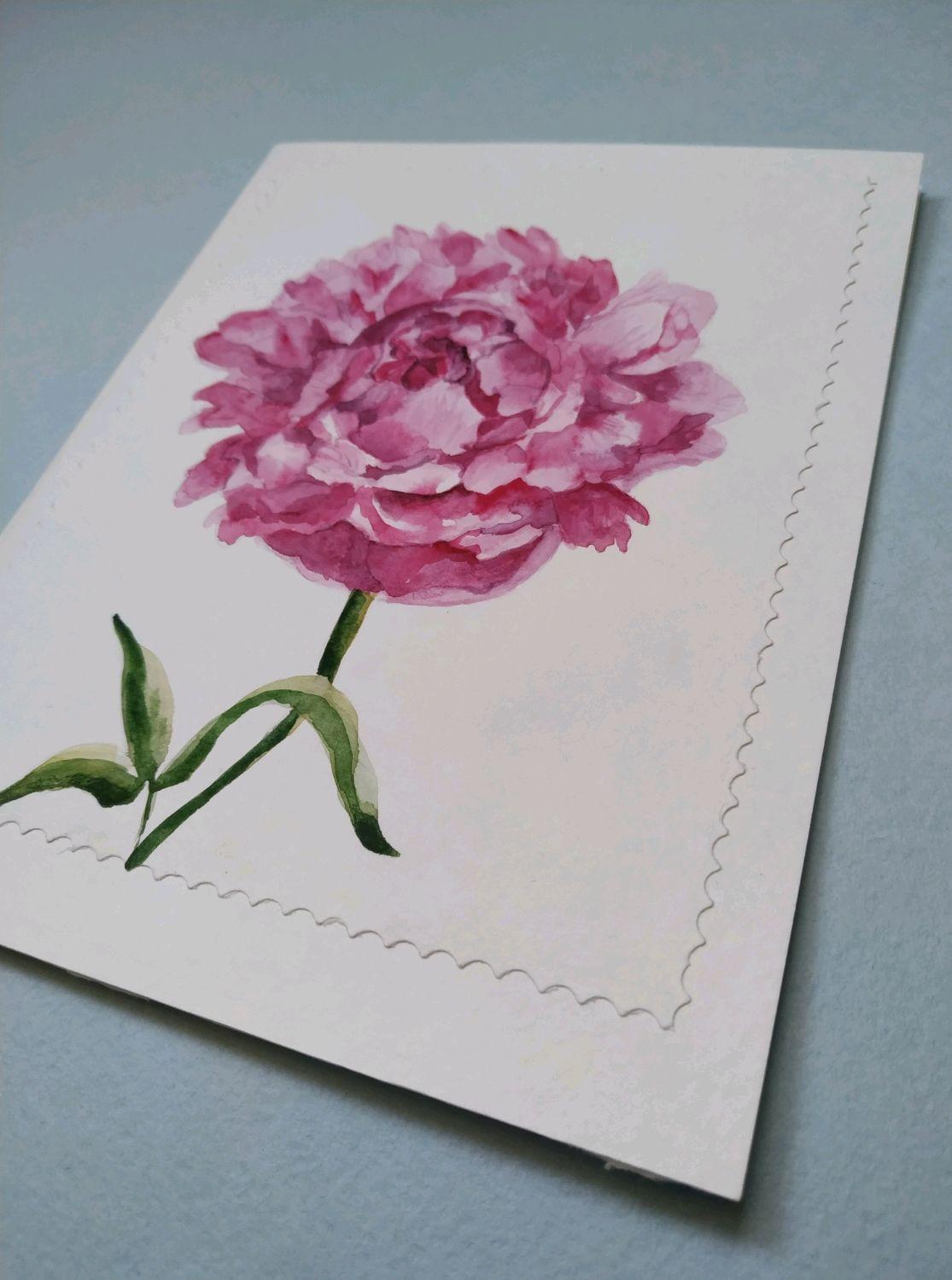 Пионы на открытку своими руками, открытка поздравление марта