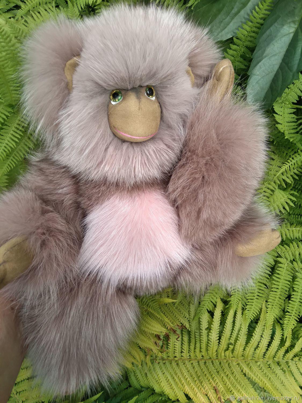 Игрушка из натурального меха мартышка Мики, Тедди Зверята, Ордынское,  Фото №1