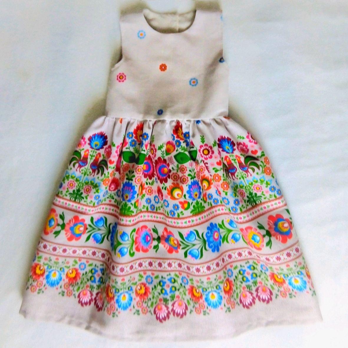 """Платье для девочки """"Масленица"""", из хлопковой рогожки"""