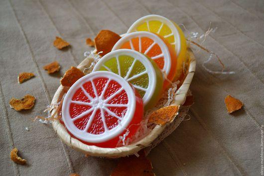 Мыло ручной работы. Ярмарка Мастеров - ручная работа. Купить Мыло Цитрус - Грейпфрут/ Лайм/ Апельсин/ Лимон. Handmade. Оранжевый