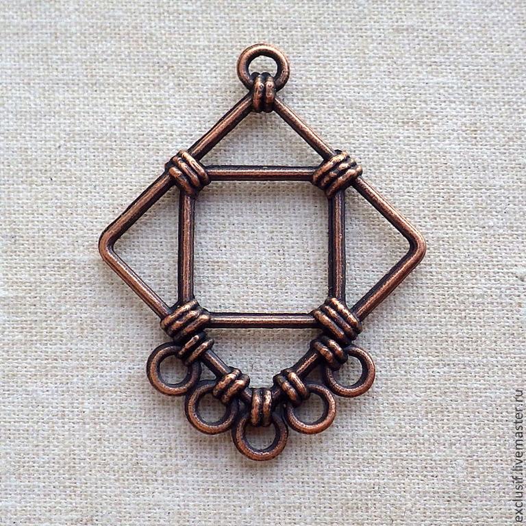 Фурнитура для создания украшений - коннектор-подвеска для серег в виде ромба, иммитация оплетения проволокой. Размер коннектора 3,3х4,3 см. Цвет коннектора античная медь. Коннектор двусторонний