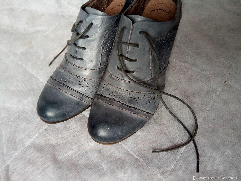 Винтаж: Серые ботильоны с перфорацией, винтаж Германия, Обувь винтажная, Фирово,  Фото №1