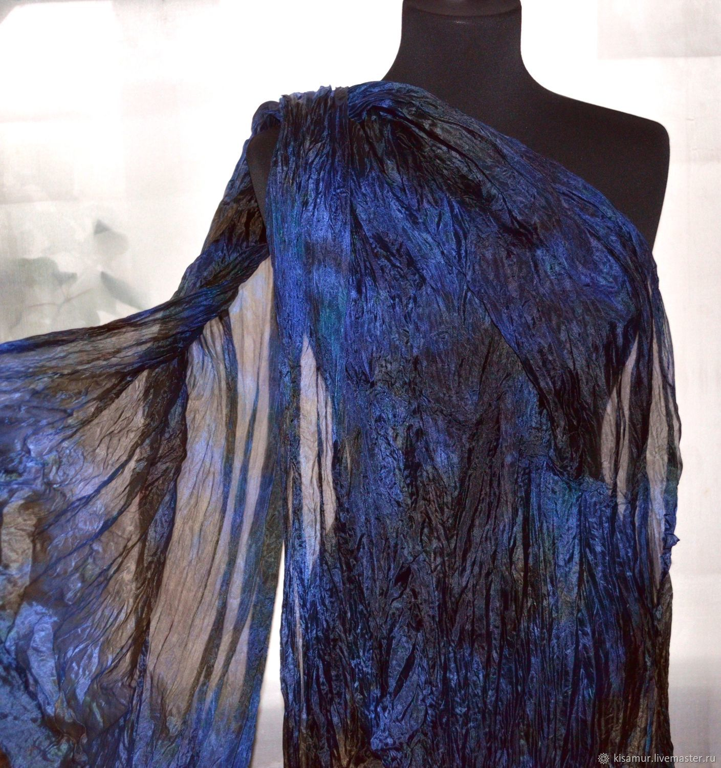 Silk scarf stole blue with brown silk accessory gift, Scarves, Vyazma,  Фото №1