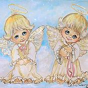 Картины и панно ручной работы. Ярмарка Мастеров - ручная работа Ангелята-картина на шелке. Handmade.
