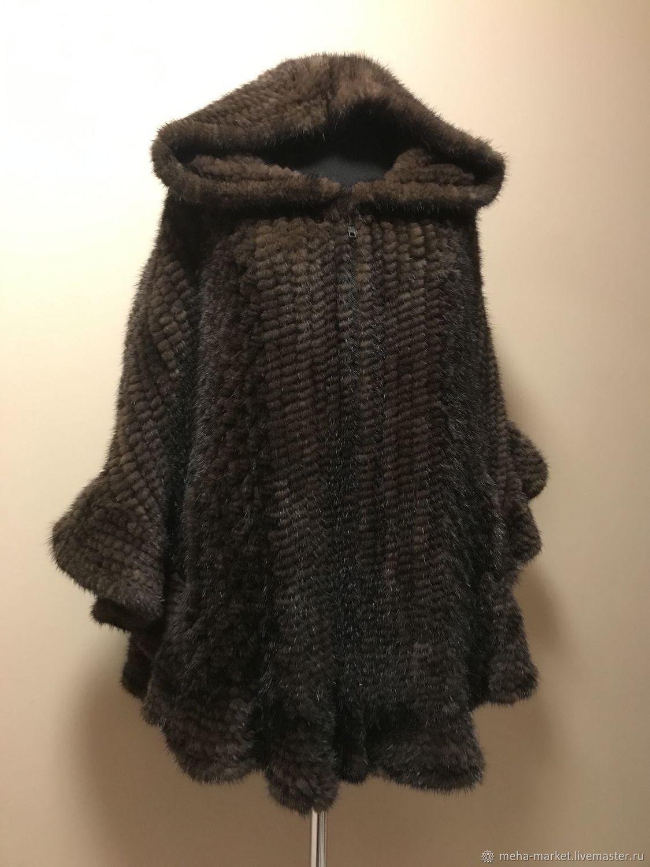 Knitted mink poncho 'Greek dream' chocolate
