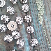 Материалы для творчества ручной работы. Ярмарка Мастеров - ручная работа Пуговица гриб на ножке имитация металла матовое серебро 20мм. Handmade.