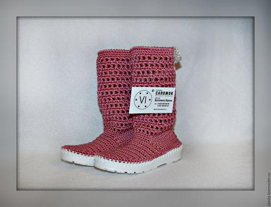 Детская обувь ручной работы. Ярмарка Мастеров - ручная работа. Купить Сапоги летние для девочки вязанные крючком. Handmade. Розовый