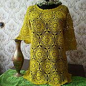 Одежда ручной работы. Ярмарка Мастеров - ручная работа Кофточка ажурная горчичного цвета. Handmade.