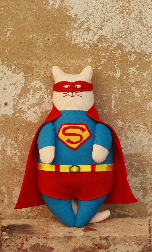 Игрушки животные, ручной работы. Ярмарка Мастеров - ручная работа. Купить Кот Супермен. Handmade. Комбинированный, подарок мужчине