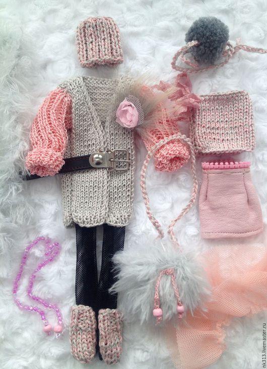 Одежда для кукол ручной работы. Ярмарка Мастеров - ручная работа. Купить Комплект для небольшой куколки.. Handmade. Серый, кукольная одежда