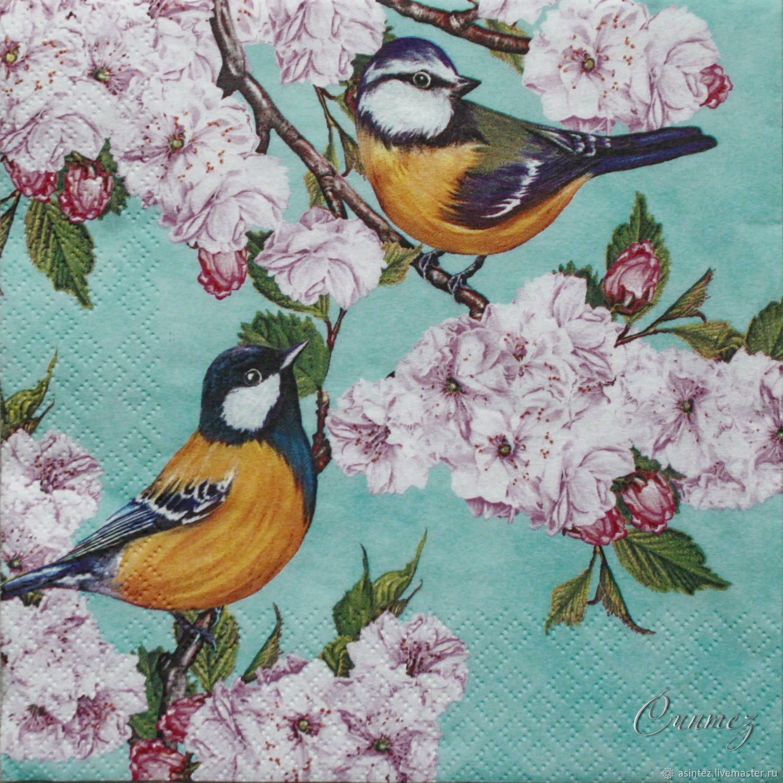 Napkins for decoupage Bird on branch Sakura print, Napkins for decoupage, Moscow,  Фото №1