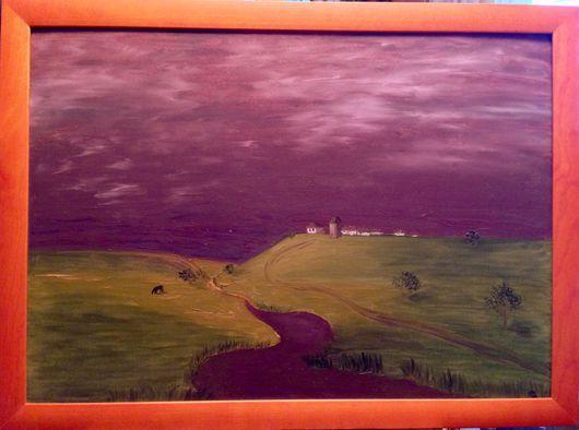 """Пейзаж ручной работы. Ярмарка Мастеров - ручная работа. Купить """"Гроза надвигается"""". Handmade. Тёмно-фиолетовый, луг, река, масло"""