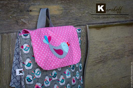 """Рюкзаки ручной работы. Ярмарка Мастеров - ручная работа. Купить Летний рюкзачок """"Птички"""". Handmade. Розовый, птичка, Магнитная кнопка"""