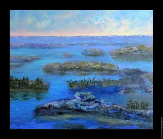 """Пейзаж ручной работы. Ярмарка Мастеров - ручная работа. Купить Картина """"Заря на болоте"""". Handmade. Синий, картина, картина в подарок"""