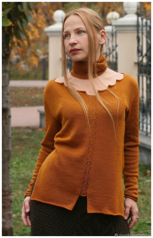 Long knitted sweater of ochre color, Sweaters, Kiev,  Фото №1