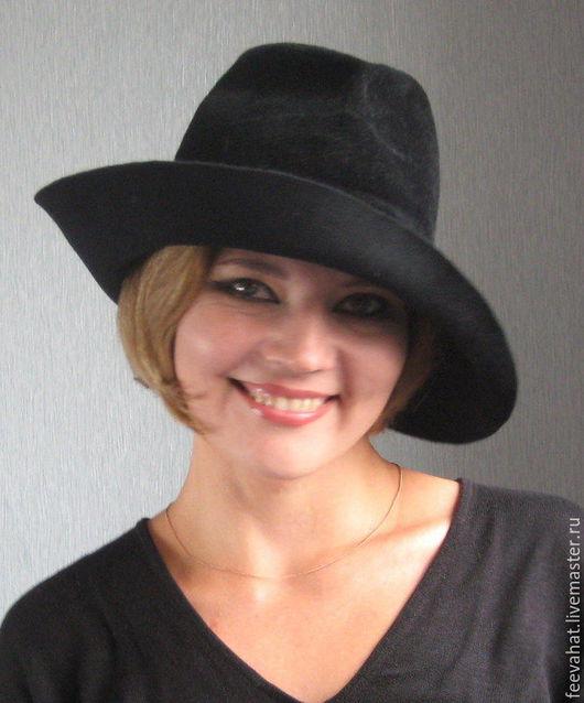 """Шляпы ручной работы. Ярмарка Мастеров - ручная работа. Купить Черная велюровая шляпа """"Интрига"""". Handmade. Головной убор, велюр"""