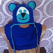 Работы для детей, ручной работы. Ярмарка Мастеров - ручная работа шапочка с манишкой. Handmade.