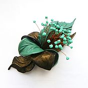 Украшения handmade. Livemaster - original item Brooch flower leather Parisian Dreams bronze dark mint. Handmade.