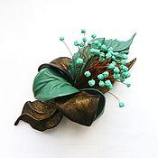 Украшения ручной работы. Ярмарка Мастеров - ручная работа Брошь цветок из кожи Парижские Сны бронзовый темно мятный. Handmade.