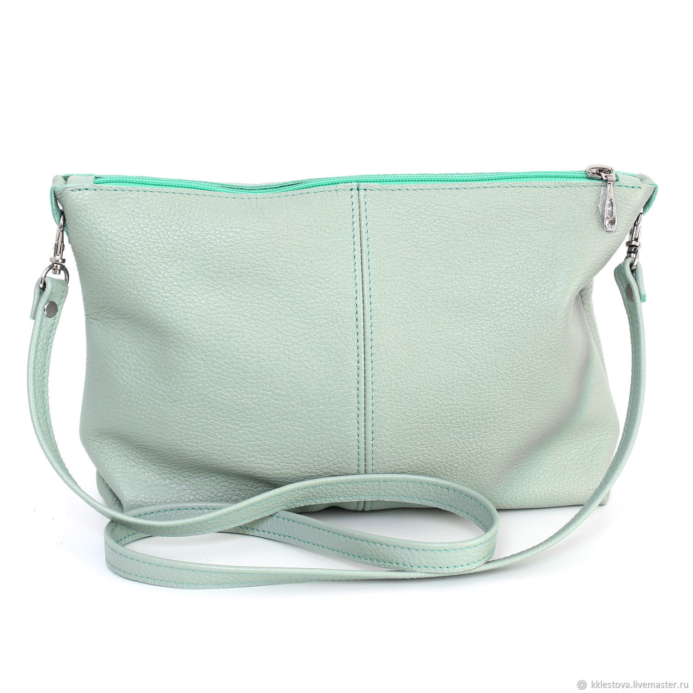 Handbags handmade. Livemaster - handmade. Buy Mint bag with shoulder strap - Crossbody Mint.Chocolate, shopper, menthol