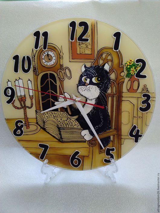 Часы для дома ручной работы. Ярмарка Мастеров - ручная работа. Купить часы настенные Кот учёный. Handmade. Бежевый, библиотека