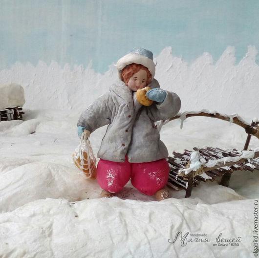 Новый год 2017 ручной работы. Ярмарка Мастеров - ручная работа. Купить Ватная елочная игрушка ЗА ХЛЕБУШКОМ. Handmade.