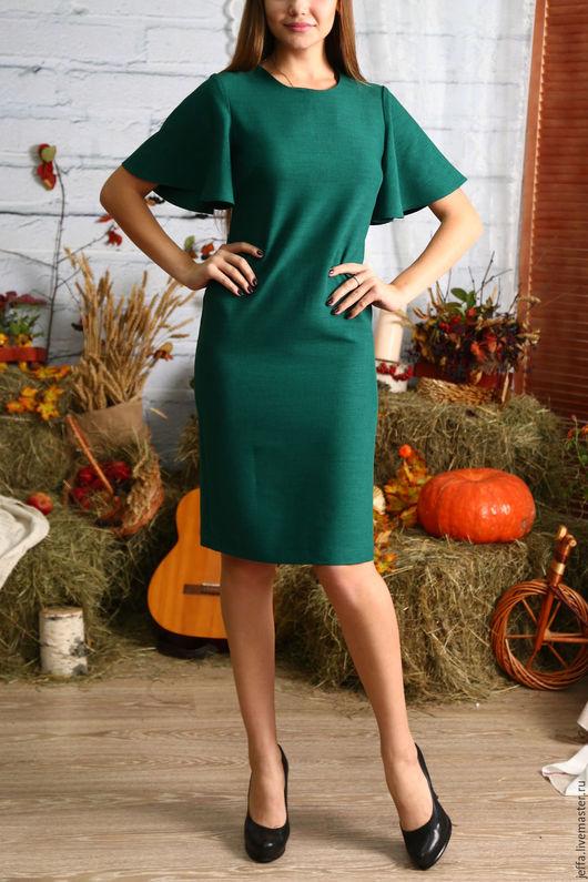 Платья ручной работы. Ярмарка Мастеров - ручная работа. Купить Платье арт.5457. Handmade. Тёмно-зелёный, базовое платье