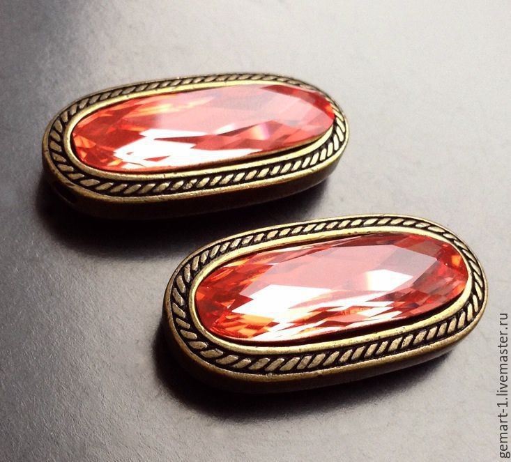 Pendant for jewelry art. 7-49 with a red crystal and bronze for, Pendants, Moscow,  Фото №1