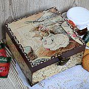 """Для дома и интерьера ручной работы. Ярмарка Мастеров - ручная работа Чайная шкатулка """"Мышки"""", шкатулка для чайных пакетиков. Handmade."""