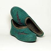 """Обувь ручной работы. Ярмарка Мастеров - ручная работа Валяные тапочки """"Перья перелетных птиц"""". Handmade."""