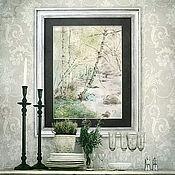 Картины и панно ручной работы. Ярмарка Мастеров - ручная работа Картина акварелью Березки (весенний пейзаж, светло-зеленый, мятный). Handmade.
