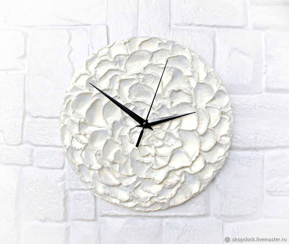 White Wall Clock Mother of Pearl Flower, Watch, Novosibirsk,  Фото №1