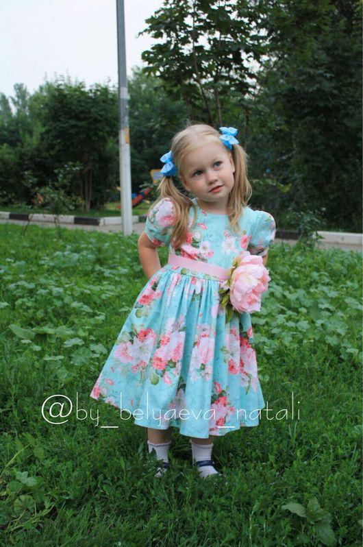 """Одежда для девочек, ручной работы. Ярмарка Мастеров - ручная работа. Купить Платье для принцессы """"Пионы на бирюзе """". Handmade. Платье"""
