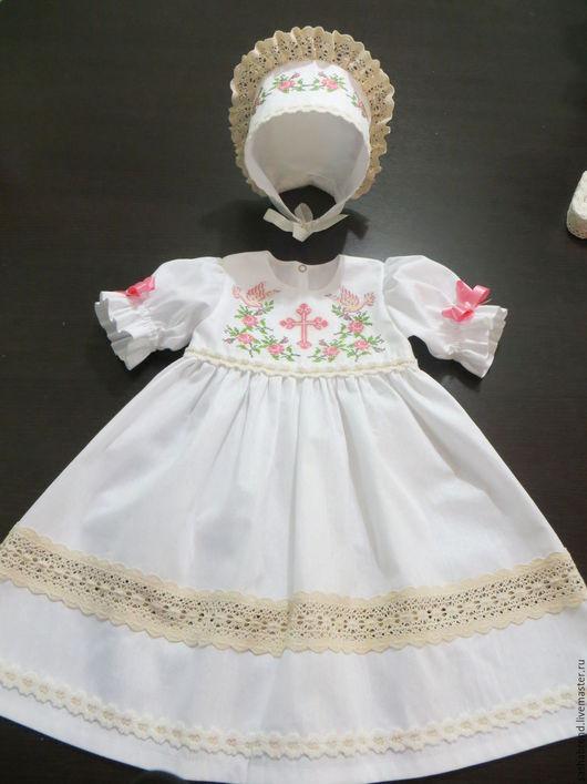 Одежда для девочек, ручной работы. Ярмарка Мастеров - ручная работа. Купить Крестильное платье. Handmade. Белый, Крестины, крестильный набор