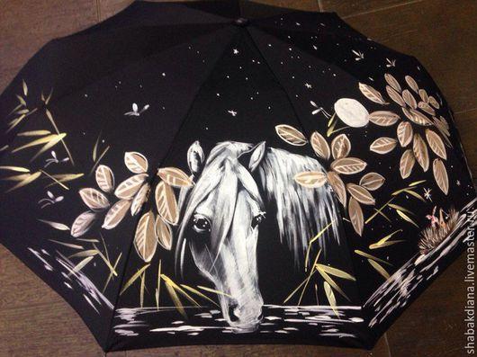 """Зонты ручной работы. Ярмарка Мастеров - ручная работа. Купить """"Ежик в тумане 1"""". Handmade. Авторская работа, весна, черный"""