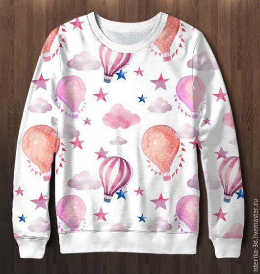 Кофты и свитера ручной работы. Ярмарка Мастеров - ручная работа. Купить Свитшот с принтом На воздушном шаре - классный подарок. Handmade.