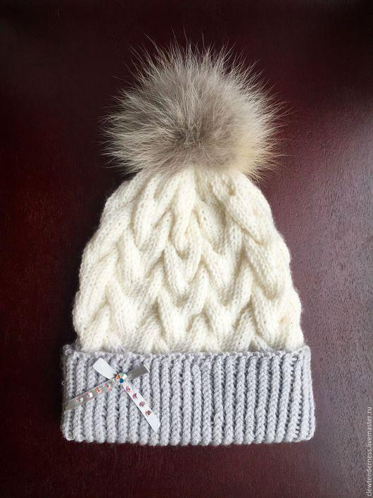 Шапки ручной работы. Ярмарка Мастеров - ручная работа. Купить Вязаная шапка ручной работы из натуральной шерсти. Handmade.
