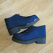 Обувь ручной работы. Ярмарка Мастеров - ручная работа Войлочные ботиночки Schwarz-blau melange. Handmade.