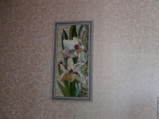 Элементы интерьера ручной работы. Ярмарка Мастеров - ручная работа. Купить Мозаика стеклянная Белые цветы. Handmade. Цветы белые