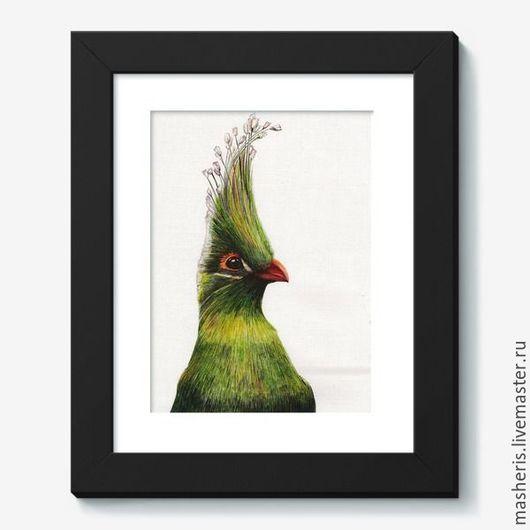 Животные ручной работы. Ярмарка Мастеров - ручная работа. Купить Пташка. Handmade. Зеленый, птица, животные, иллюстрация, акварель, лето