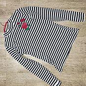 Одежда ручной работы. Ярмарка Мастеров - ручная работа Тельняшка женская с розами. Handmade.
