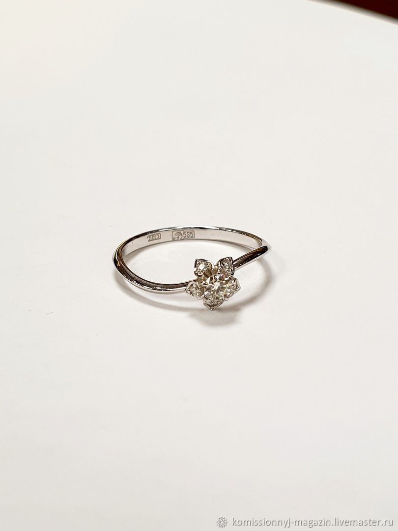 Золотое кольцо 585 с бриллиантами 1.54гр, Кольца, Екатеринбург,  Фото №1
